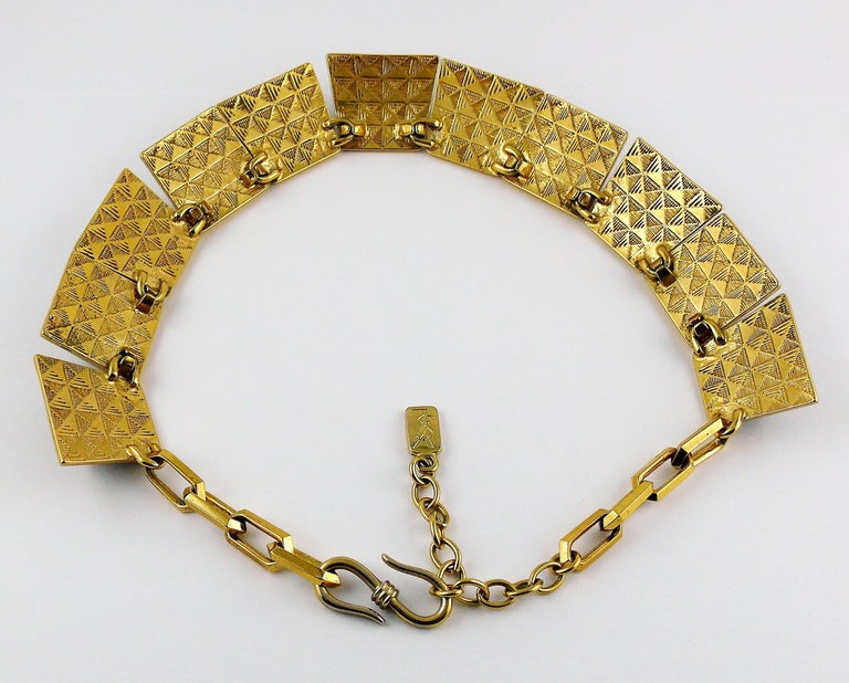 Yves Saint Laurent YSL Vintage Iconic Leopard Pyramid Necklace For Sale 5