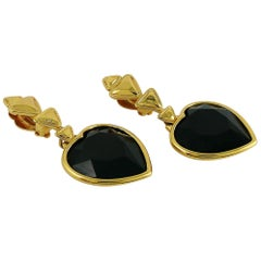 Yves Saint Laurent YSL Vintage Jet Crystal Heart Dangling Earrings