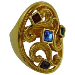 Yves Saint Laurent YSL Vintage Jewelled Arabesques Ring