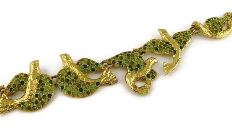 Yves Saint Laurent YSL Vintage Jewelled Bird Necklace For Sale 3