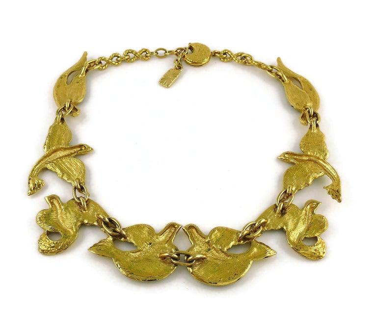 Yves Saint Laurent YSL Vintage Jewelled Bird Necklace For Sale 5