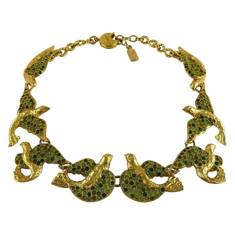 Yves Saint Laurent YSL Vintage Jewelled Bird Necklace For Sale