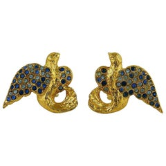 Yves Saint Laurent YSL Vintage Jewelled Birds Clip On Earrings