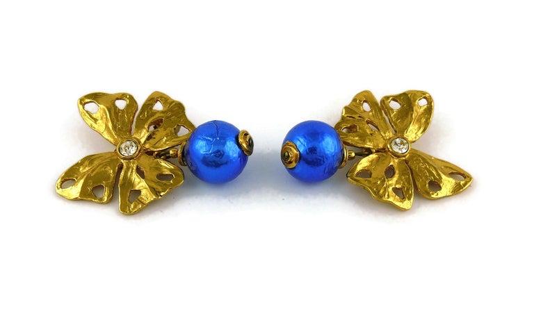 Women's Yves Saint Laurent YSL Vintage Jewelled Butterfly Dangling Earrings For Sale