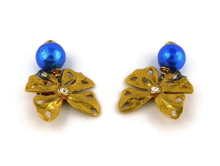 Yves Saint Laurent YSL Vintage Jewelled Butterfly Dangling Earrings For Sale 1