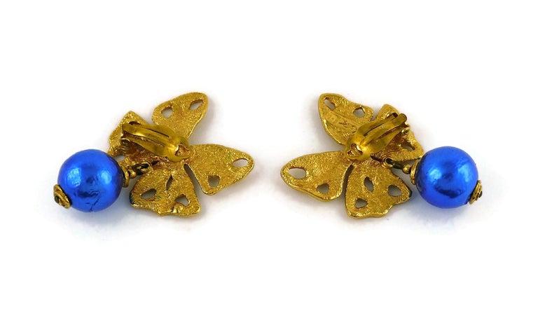 Yves Saint Laurent YSL Vintage Jewelled Butterfly Dangling Earrings For Sale 2