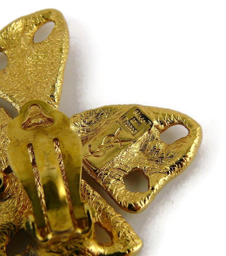 Yves Saint Laurent YSL Vintage Jewelled Butterfly Dangling Earrings For Sale 3
