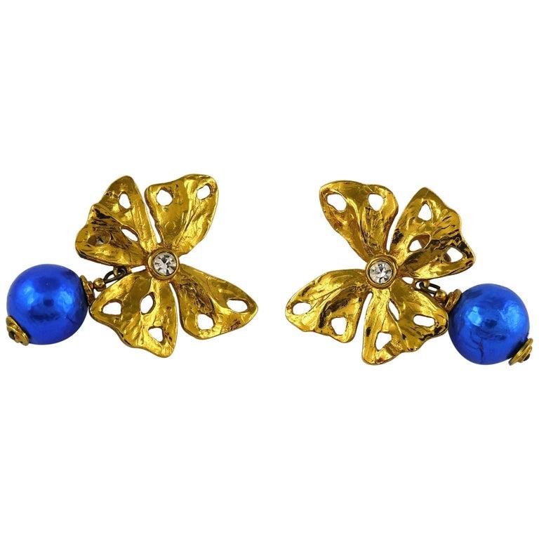 Yves Saint Laurent YSL Vintage Jewelled Butterfly Dangling Earrings For Sale