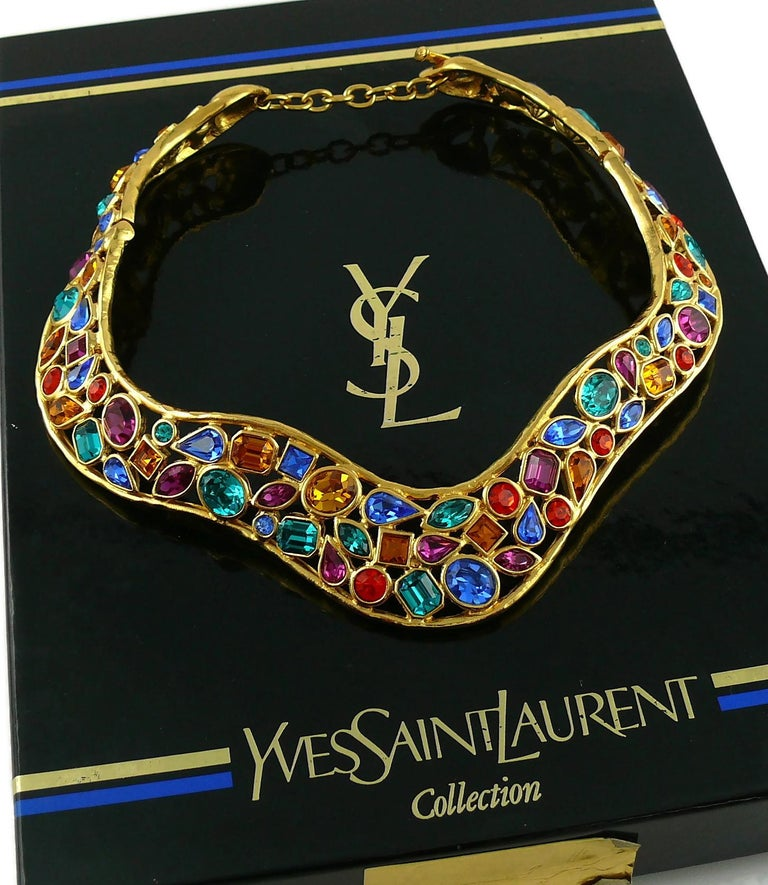Yves Saint Laurent YSL Vintage Jewelled Choker Necklace In Excellent Condition For Sale In Nice, FR