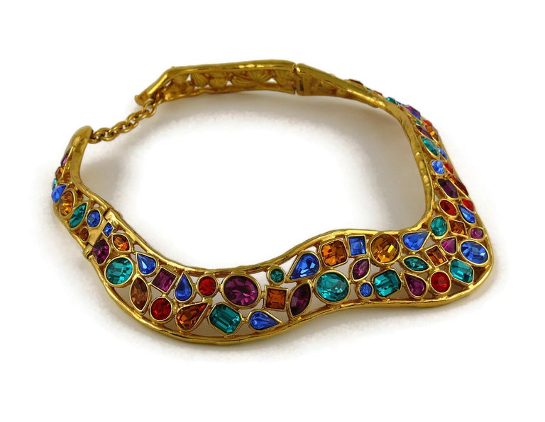 Women's Yves Saint Laurent YSL Vintage Jewelled Choker Necklace For Sale