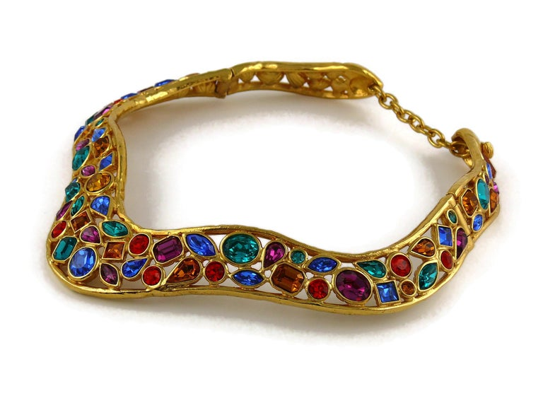 Yves Saint Laurent YSL Vintage Jewelled Choker Necklace For Sale 2