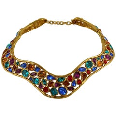 Yves Saint Laurent YSL Vintage Jewelled Choker Necklace