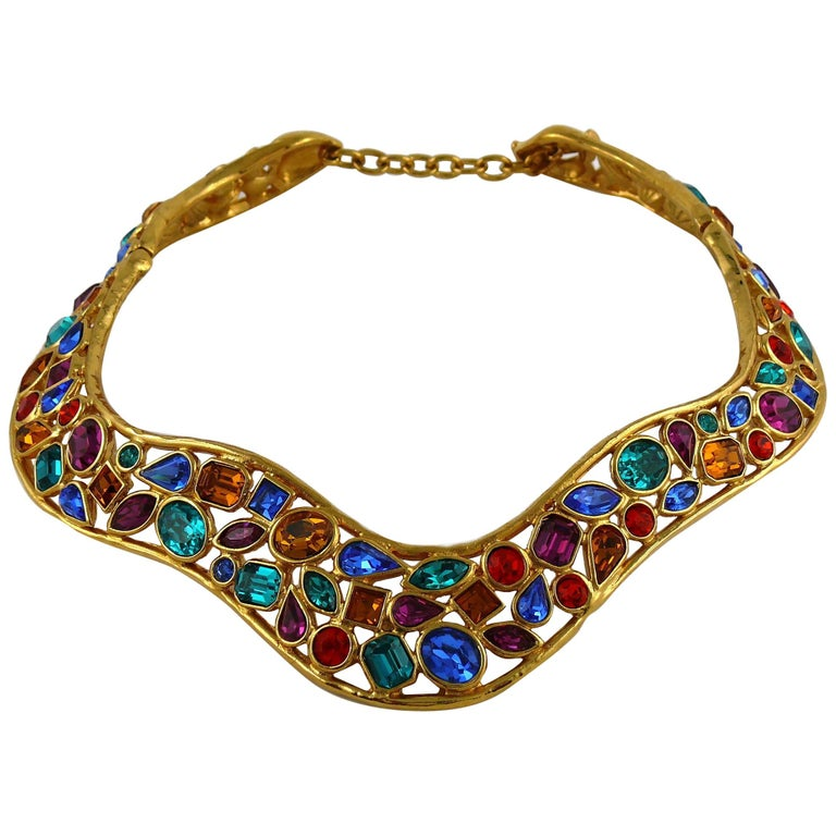 Yves Saint Laurent YSL Vintage Jewelled Choker Necklace For Sale