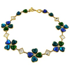 Yves Saint Laurent YSL Vintage Jewelled Clover Necklace