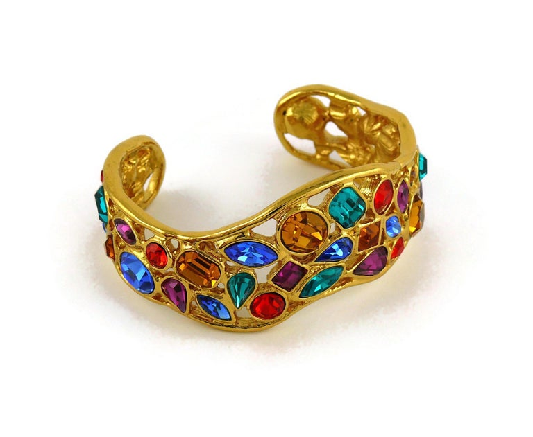 Yves Saint Laurent YSL Vintage Jewelled Cuff Bracelet In Excellent Condition For Sale In Nice, FR