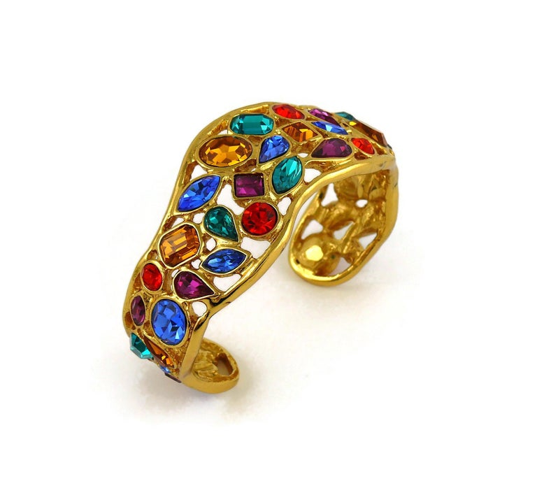Yves Saint Laurent YSL Vintage Jewelled Cuff Bracelet For Sale 1