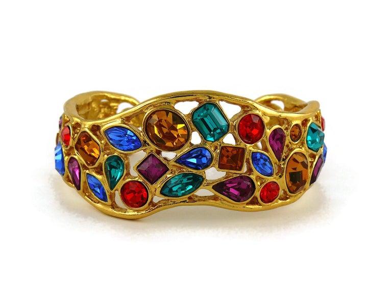 Yves Saint Laurent YSL Vintage Jewelled Cuff Bracelet For Sale 3