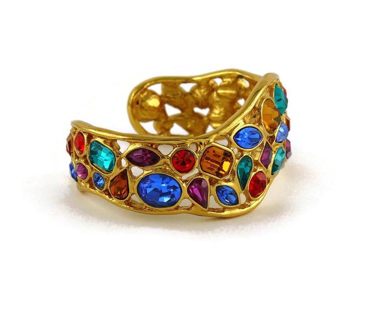 Yves Saint Laurent YSL Vintage Jewelled Cuff Bracelet For Sale 4