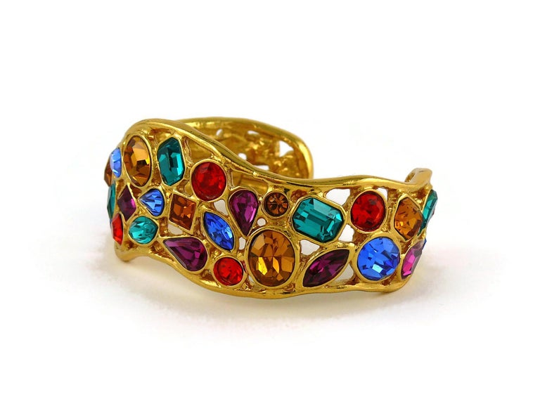 Yves Saint Laurent YSL Vintage Jewelled Cuff Bracelet For Sale 5