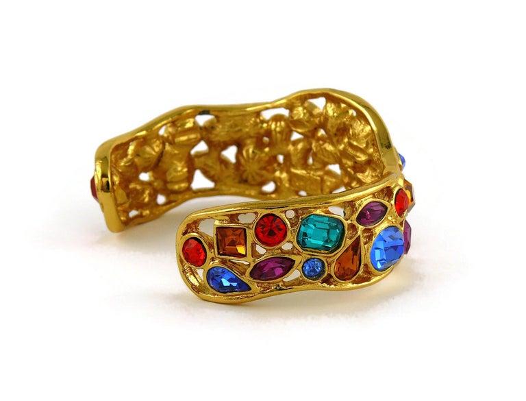 Yves Saint Laurent YSL Vintage Jewelled Cuff Bracelet For Sale 6