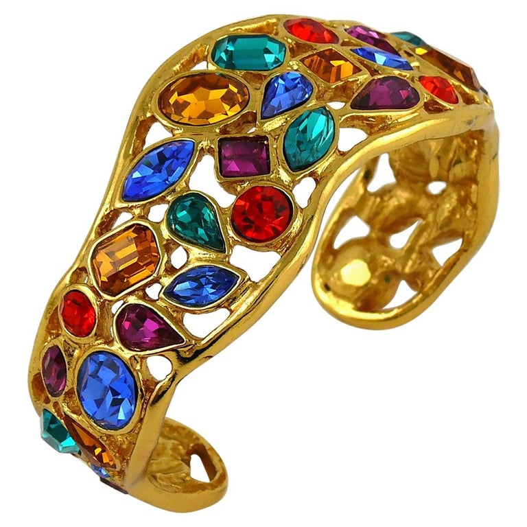 Yves Saint Laurent YSL Vintage Jewelled Cuff Bracelet For Sale