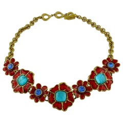 Yves Saint Laurent YSL Vintage Jewelled Enamel Floral Necklace