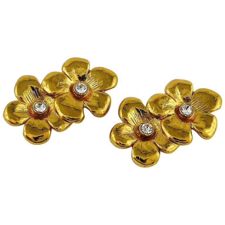 df7ef666a0f Yves Saint Laurent YSL Vintage Jewelled Floral Clip On Earrings For Sale