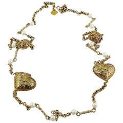 Yves Saint Laurent YSL Vintage Jewelled Heart Sautoir Necklace