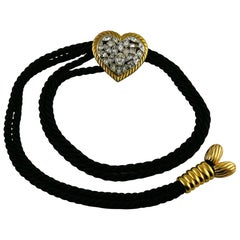Yves Saint Laurent YSL Vintage Jewelled Heart Silk Cord Belt