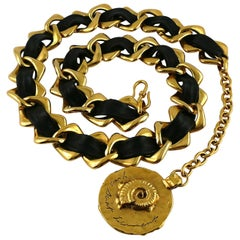 Yves Saint Laurent YSL Vintage Leather Chain Fossil Medallion Belt