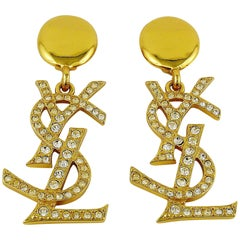 Yves Saint Laurent YSL Vintage Massive Diamante Logo Dangling Earrings