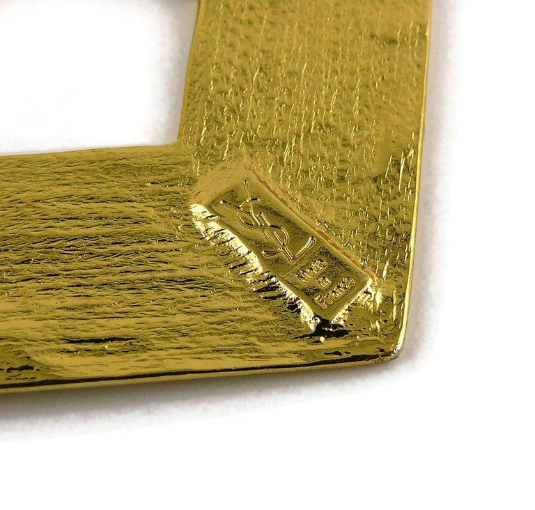 Yves Saint Laurent YSL Vintage Massive Gold Toned Geometric Dangling Earrings For Sale 6
