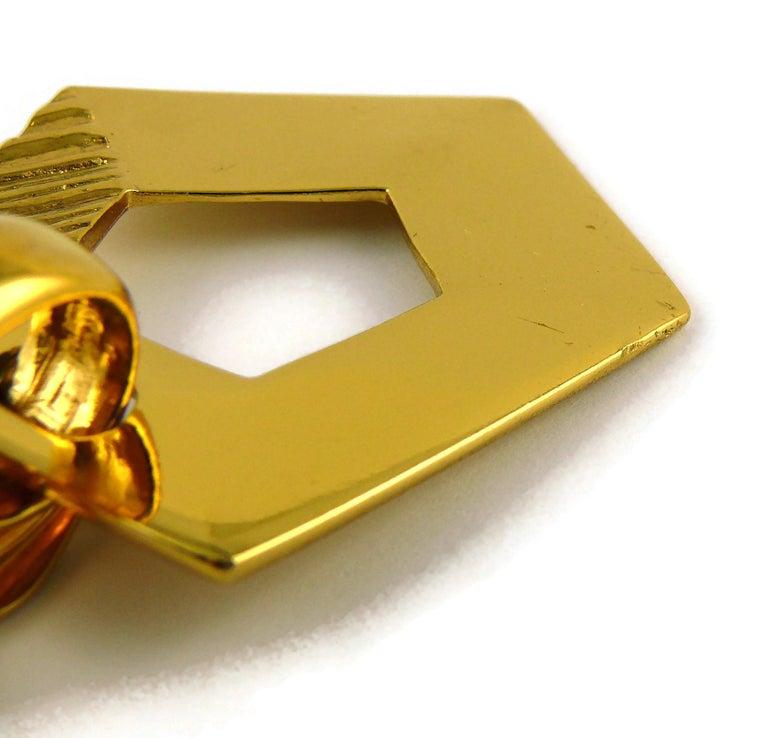 Yves Saint Laurent YSL Vintage Massive Gold Toned Geometric Dangling Earrings For Sale 7