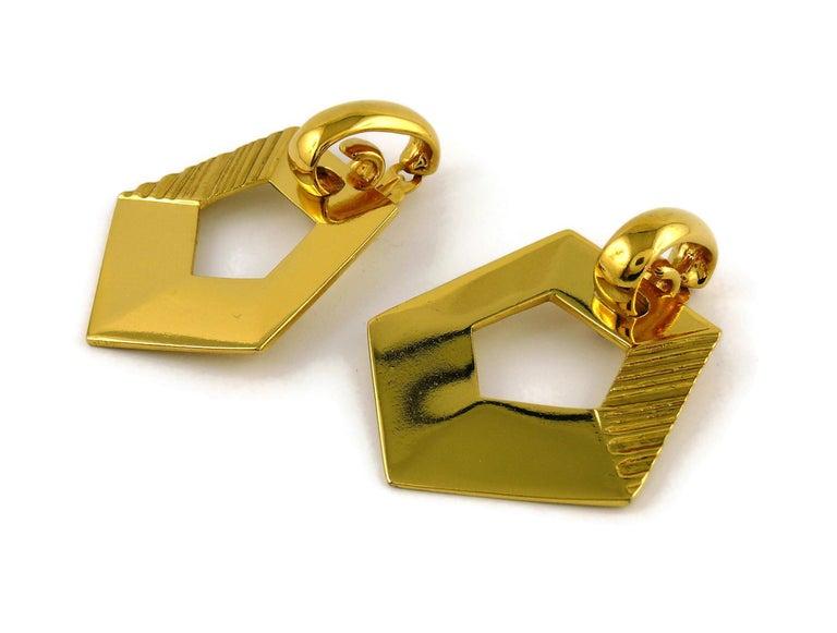 Yves Saint Laurent YSL Vintage Massive Gold Toned Geometric Dangling Earrings For Sale 1