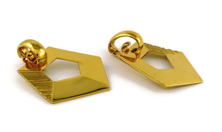 Yves Saint Laurent YSL Vintage Massive Gold Toned Geometric Dangling Earrings For Sale 2