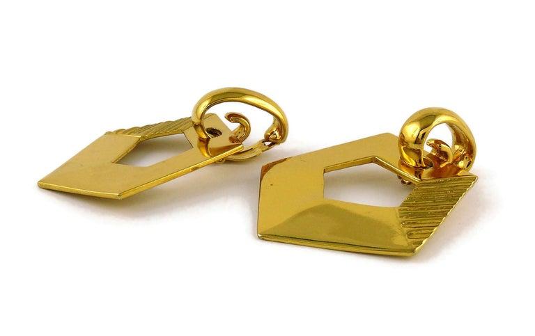Yves Saint Laurent YSL Vintage Massive Gold Toned Geometric Dangling Earrings For Sale 3