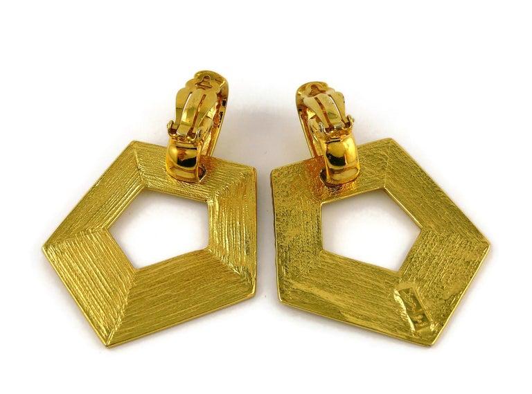 Yves Saint Laurent YSL Vintage Massive Gold Toned Geometric Dangling Earrings For Sale 4