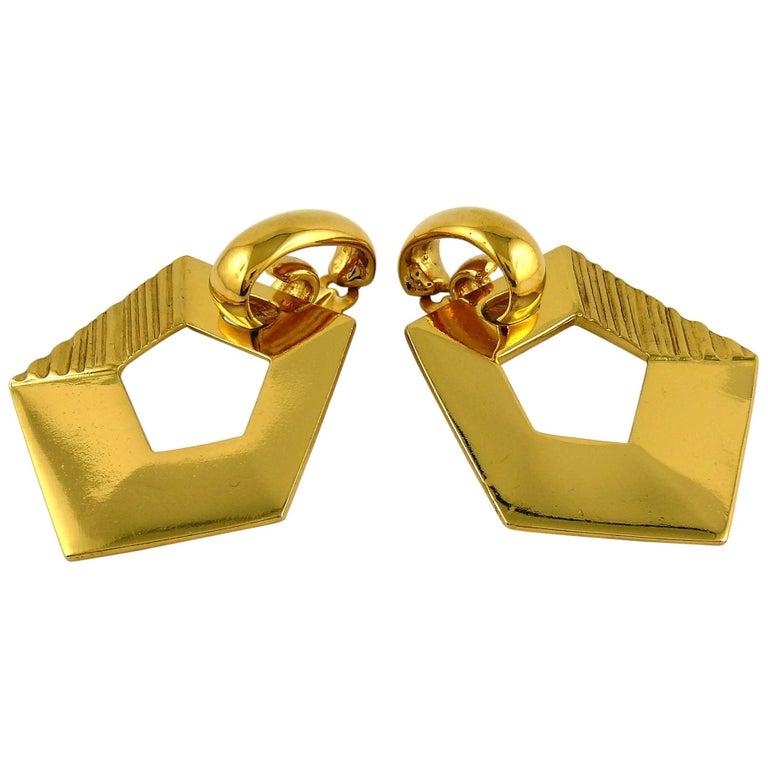Yves Saint Laurent YSL Vintage Massive Gold Toned Geometric Dangling Earrings For Sale