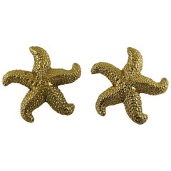 Yves Saint Laurent YSL Vintage Massive Gold Toned Starfish Clip-On Earrings