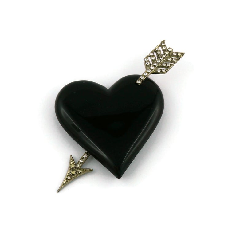 Yves Saint Laurent YSL Vintage Massive Pierced Black Heart Brooch In Good Condition For Sale In Nice, FR