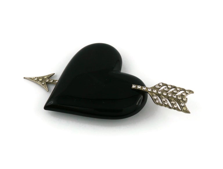 Women's Yves Saint Laurent YSL Vintage Massive Pierced Black Heart Brooch For Sale