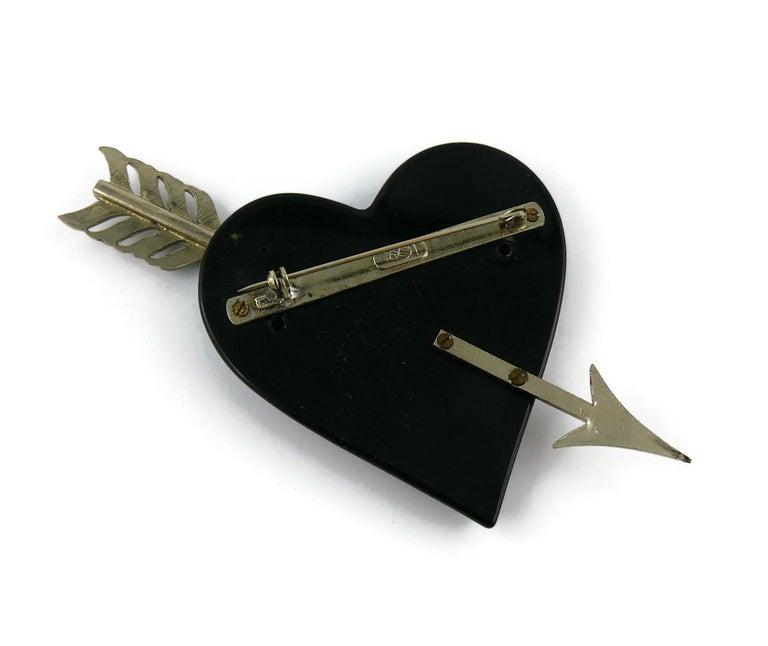Yves Saint Laurent YSL Vintage Massive Pierced Black Heart Brooch For Sale 1