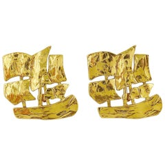 Yves Saint Laurent YSL Vintage Massive Sailing Ship Clip On Earrings
