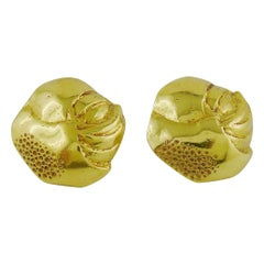 Yves Saint Laurent YSL Vintage Massive Textured Clip On Earrings
