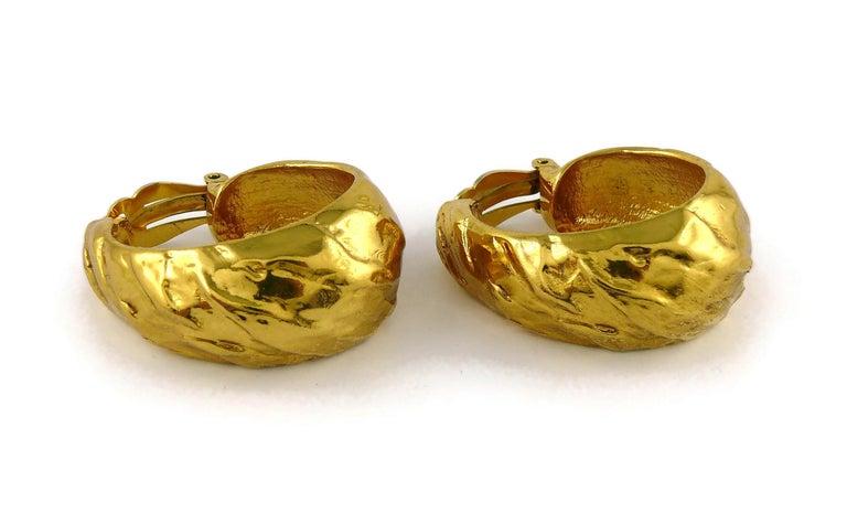 Yves Saint Laurent YSL Vintage Massive Textured Hoop Earrings For Sale 1
