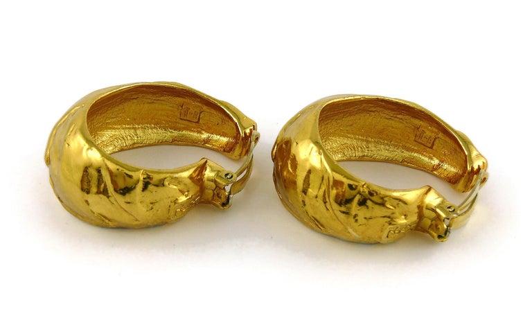 Yves Saint Laurent YSL Vintage Massive Textured Hoop Earrings For Sale 2