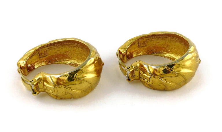 Yves Saint Laurent YSL Vintage Massive Textured Hoop Earrings For Sale 3