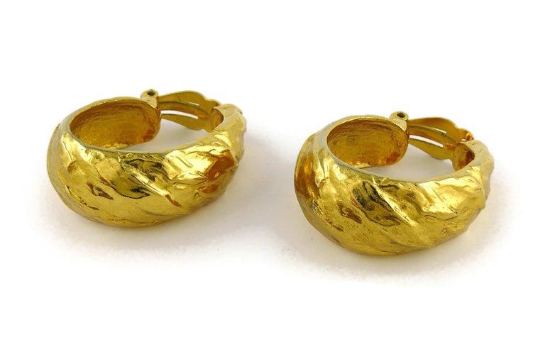 Yves Saint Laurent YSL Vintage Massive Textured Hoop Earrings For Sale 4