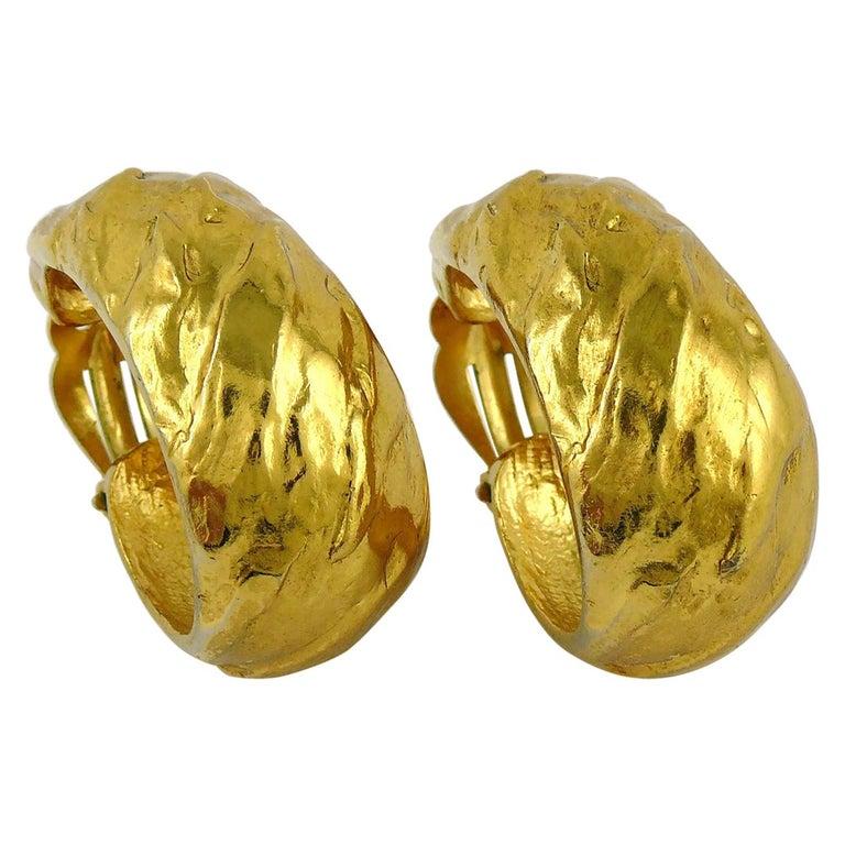 Yves Saint Laurent YSL Vintage Massive Textured Hoop Earrings For Sale