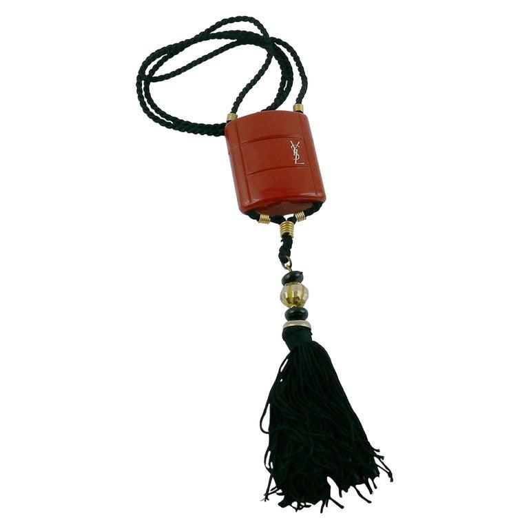 Yves Saint Laurent YSL Vintage Opium Inro Pendant Necklace For Sale